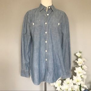 J. CREW chambray denim button down shirt small